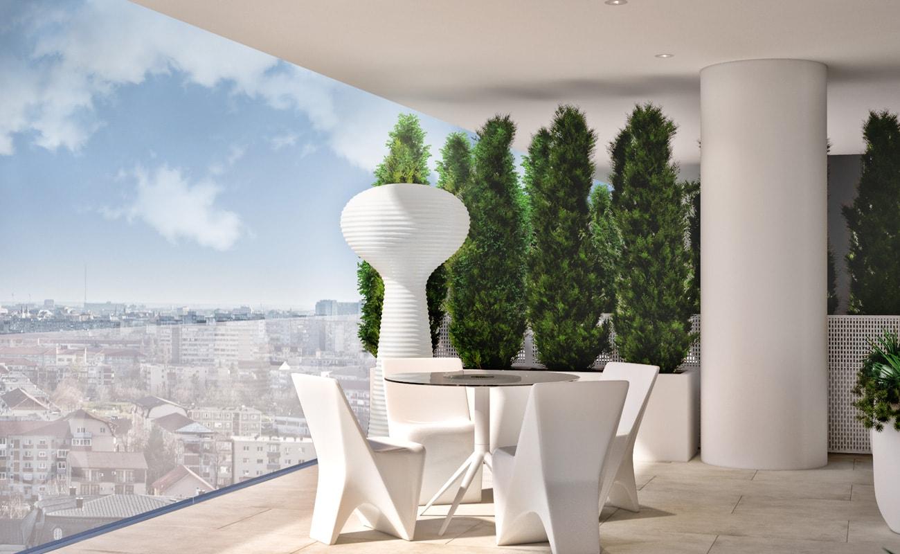 Balcon cu grădină suspendată apartament 3 camere Vox Vertical Village Timisoara