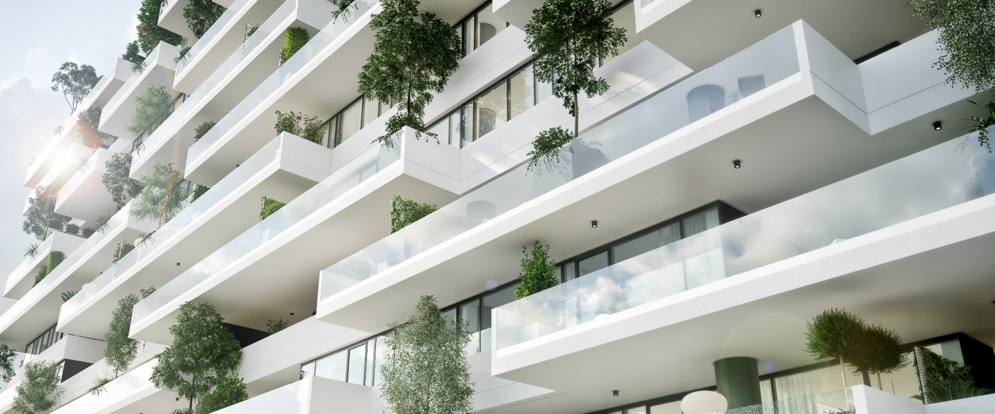 Vox Vertical Village features large terraces with lots of natural plants